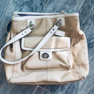 Beautiful two- toned cream coach bag!!